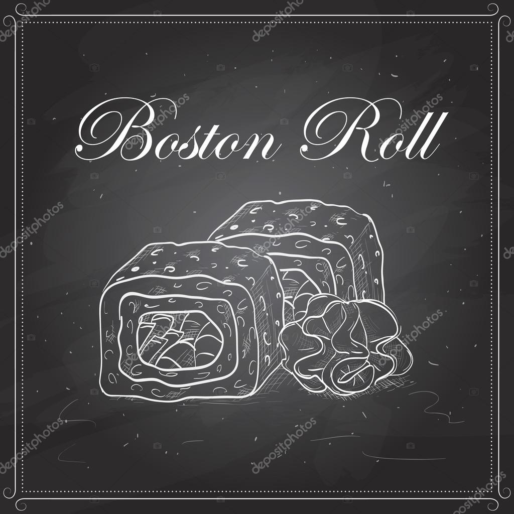 Vector sushi sketch, Boston roll