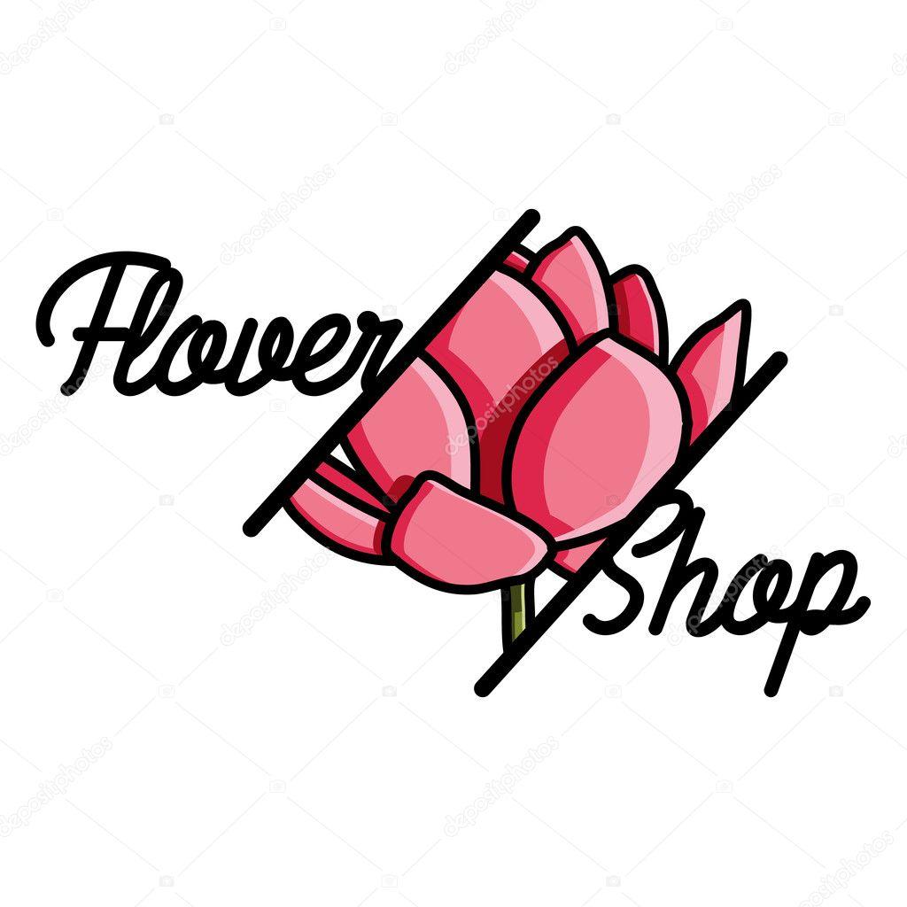 Color vintage flower shop emblem