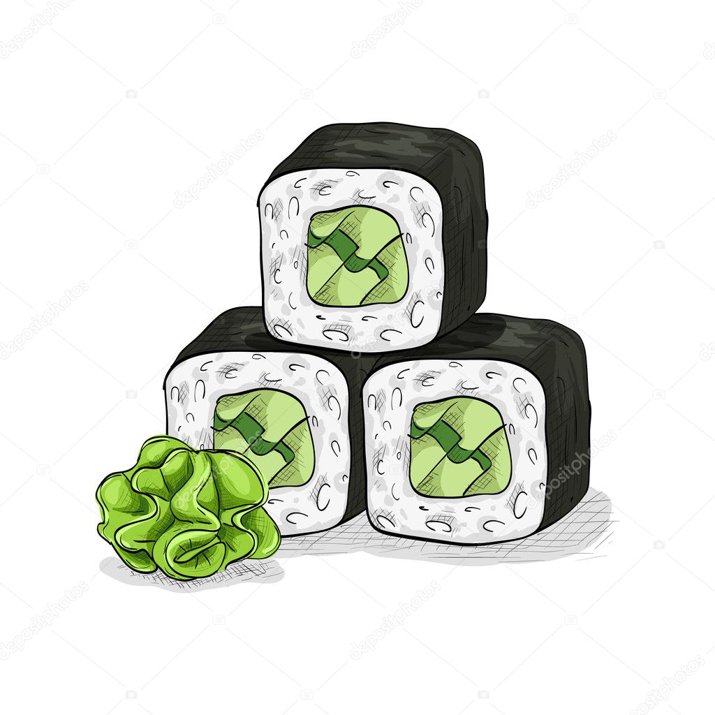 Vector sushi color sketch, Cucumber roll