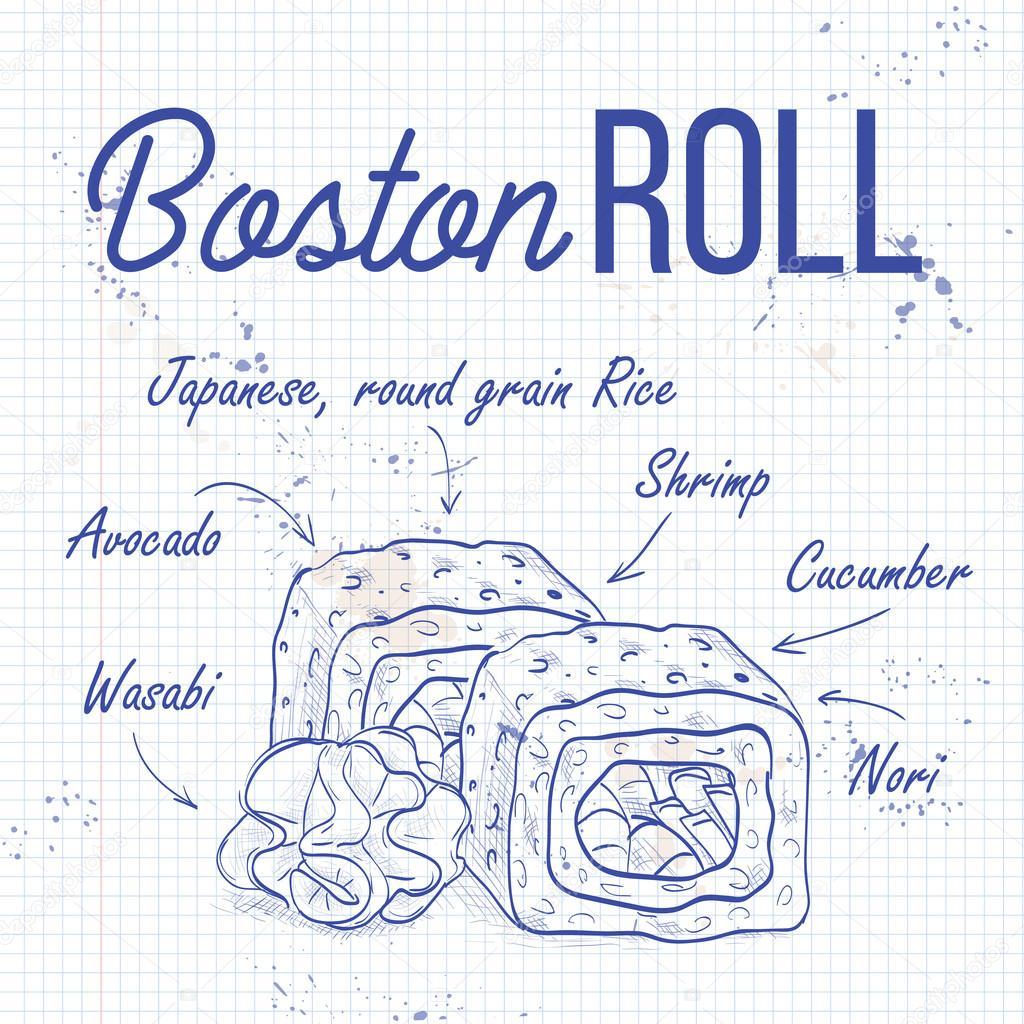 Vector sushi sketch, Boston roll