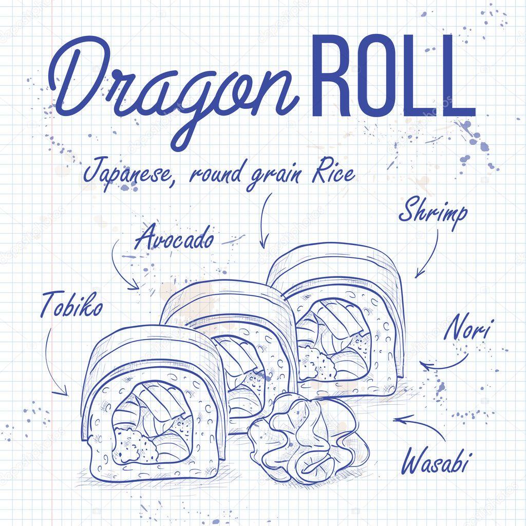 Vector sushi sketch, Dragon roll
