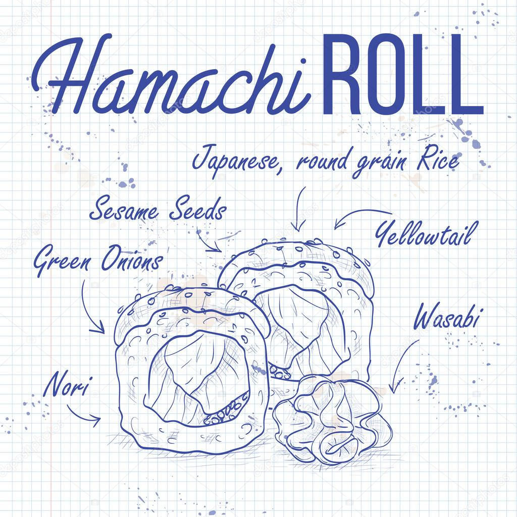 Vector sushi sketch, Hamachi roll