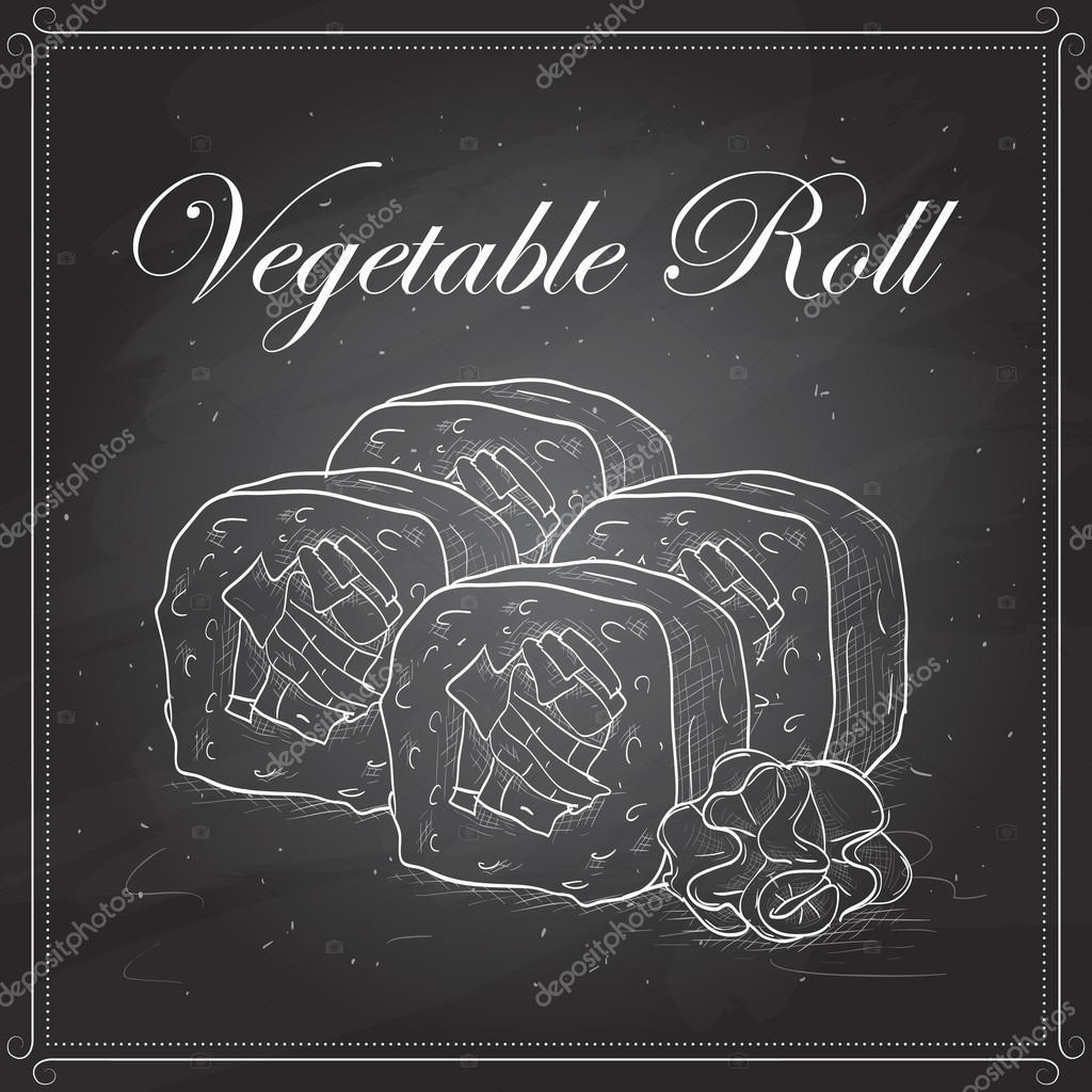 Vector sushi sketch, Vegetable roll