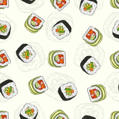 Sushi seamless pattern