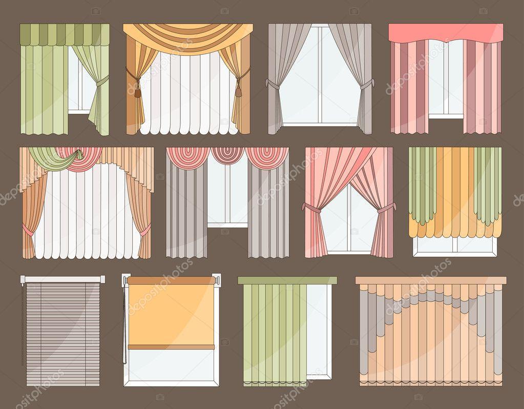 Verschillende gordijnen en zonwering voor interieur — Stockvector ...