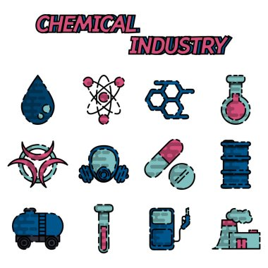 Chemical industry flat icon set