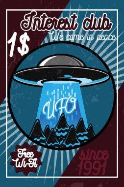 Color vintage ufo poster