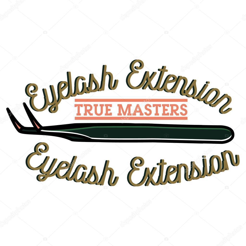Color vintage eyelash extension emblem