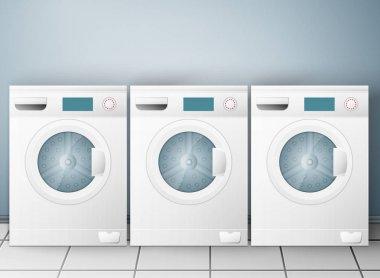 Wash machines on light background