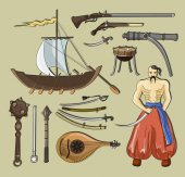 Photo Vector set of Cossacks objects