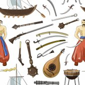 Photo Vector set of Cossacks objects pattern