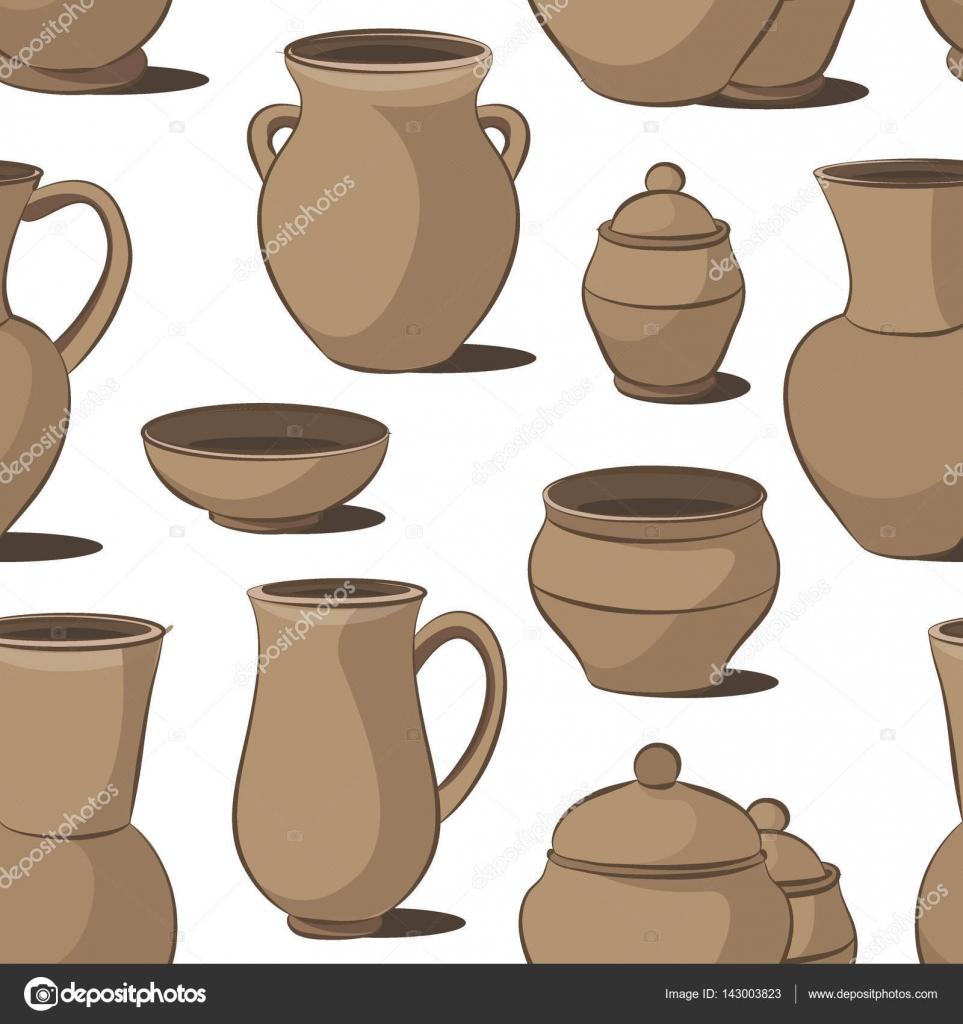 rustikale keramik geschirr muster stockvektor - Geschirr Muster