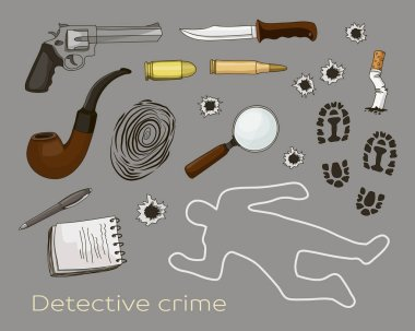 Vector detective crime icons set