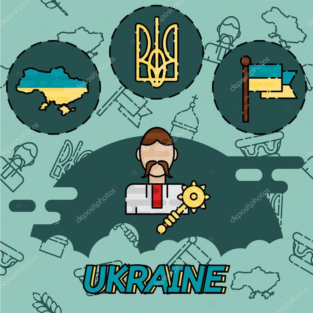 Ukraine flat concept icons