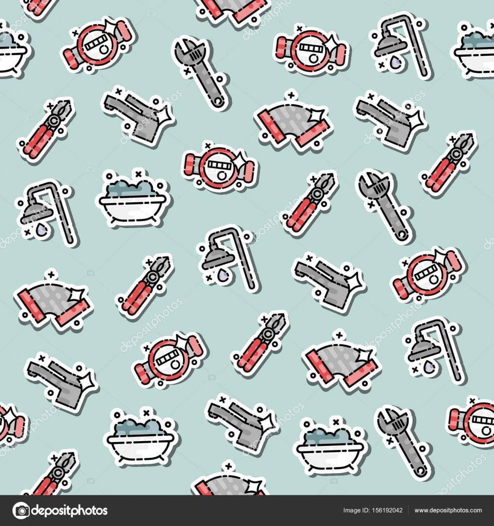 sanitr konzept symbole muster klempner und schraubenschlssel ingenieur charakter klempner reparatur ein rohr unter einem waschbecken - Konzept Muster