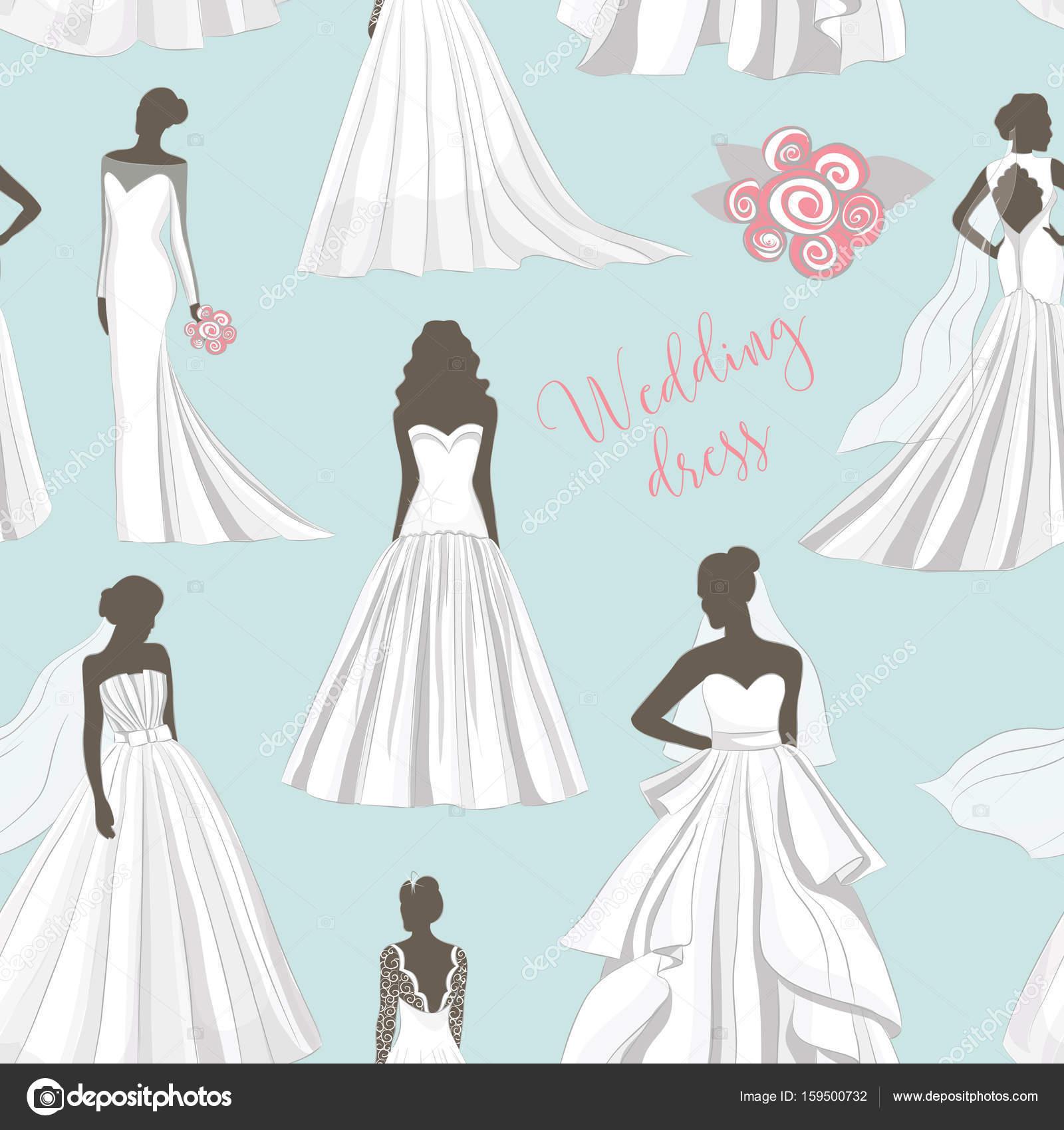 Wedding dress set pattern — Stock Vector © Netkoff #159500732