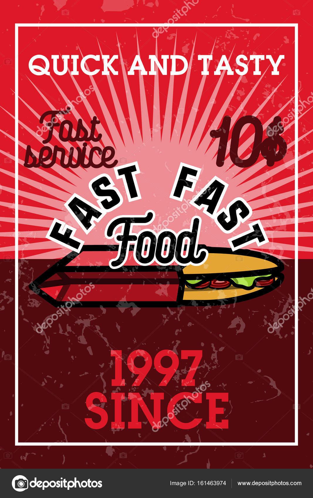 Color Vintage Fast Food Banner Design Template Vector Illustration