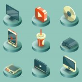 Online cinema color isometric concept icons