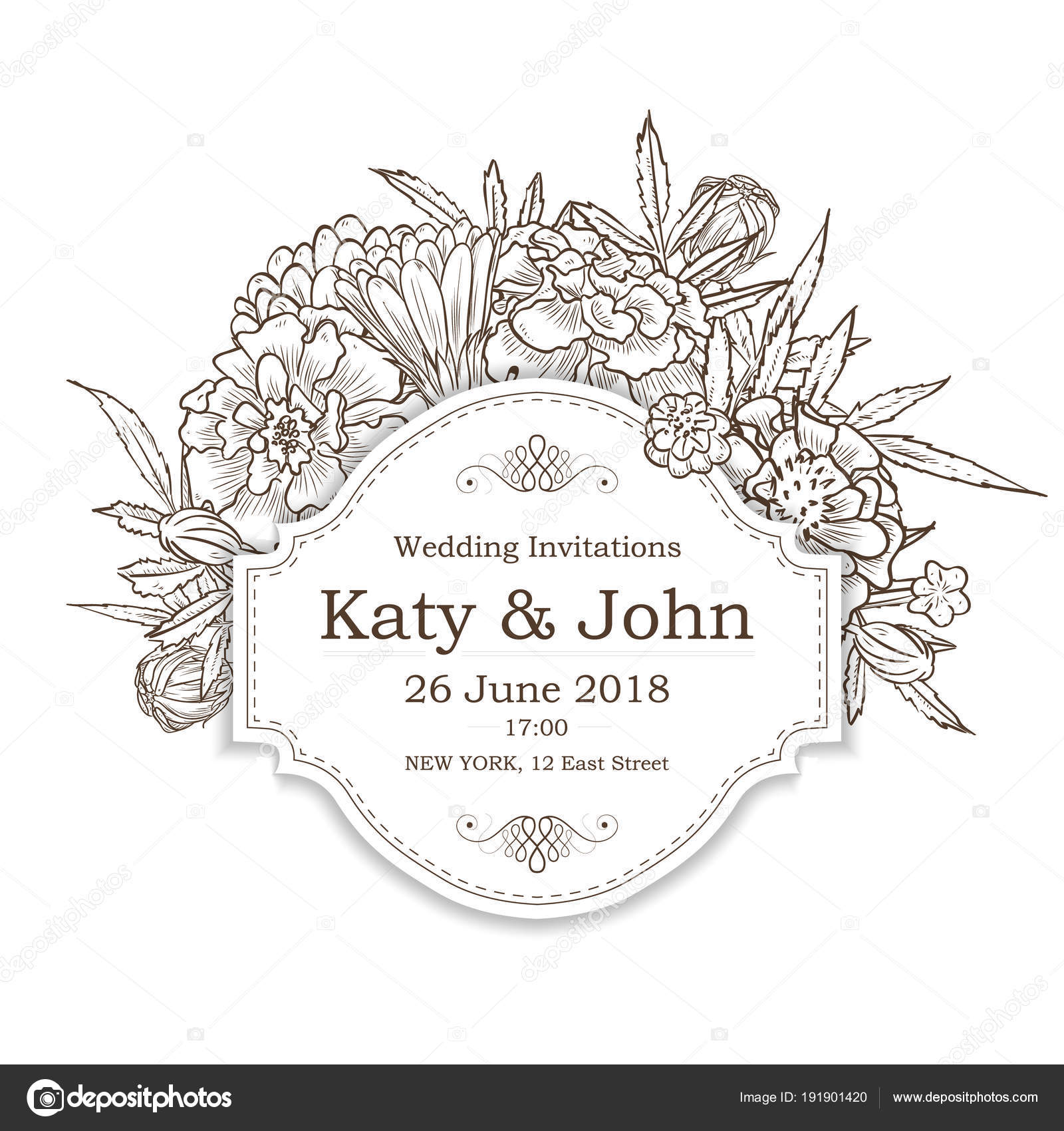 Vector invitation with marigold flowers stock vector netkoff vector invitation with marigold flowers for wedding marriage bridal birthday vector by netkoff izmirmasajfo