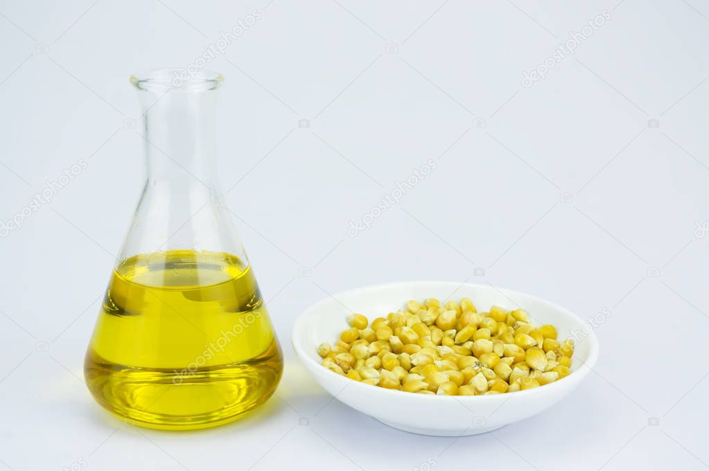 Corn generated ethanol bio-fuel with test tubes — Stock Photo
