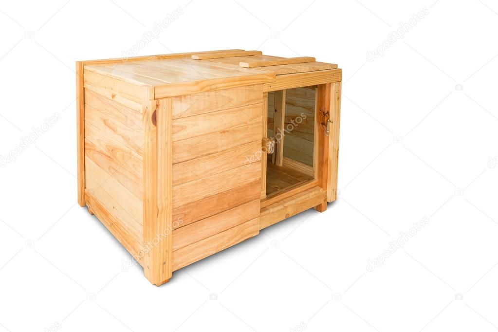 open wooden box with clipping path isolated on white background