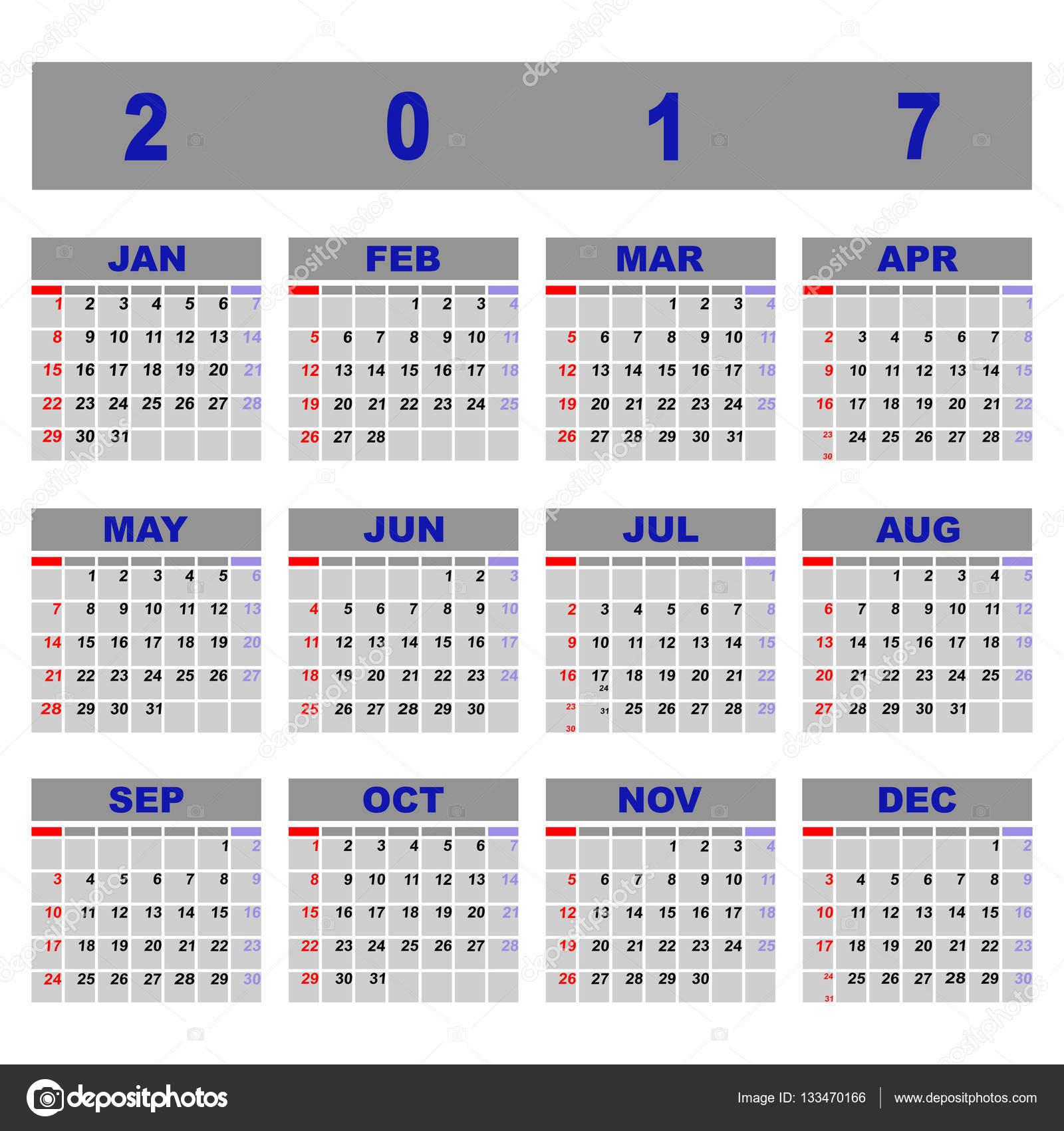 Crear plantilla de calendario 2017 demo — Archivo Imágenes ...