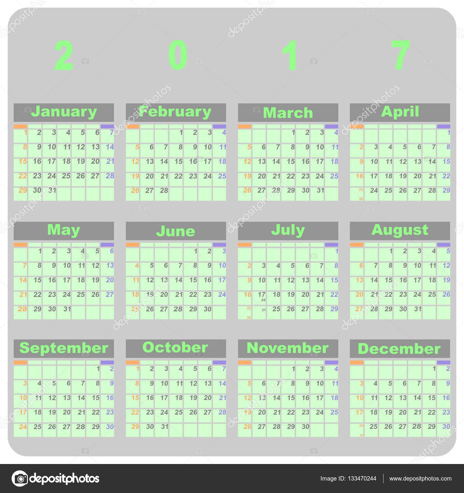 Plantilla de diseño demo calendario 2017 — Vector de stock ...
