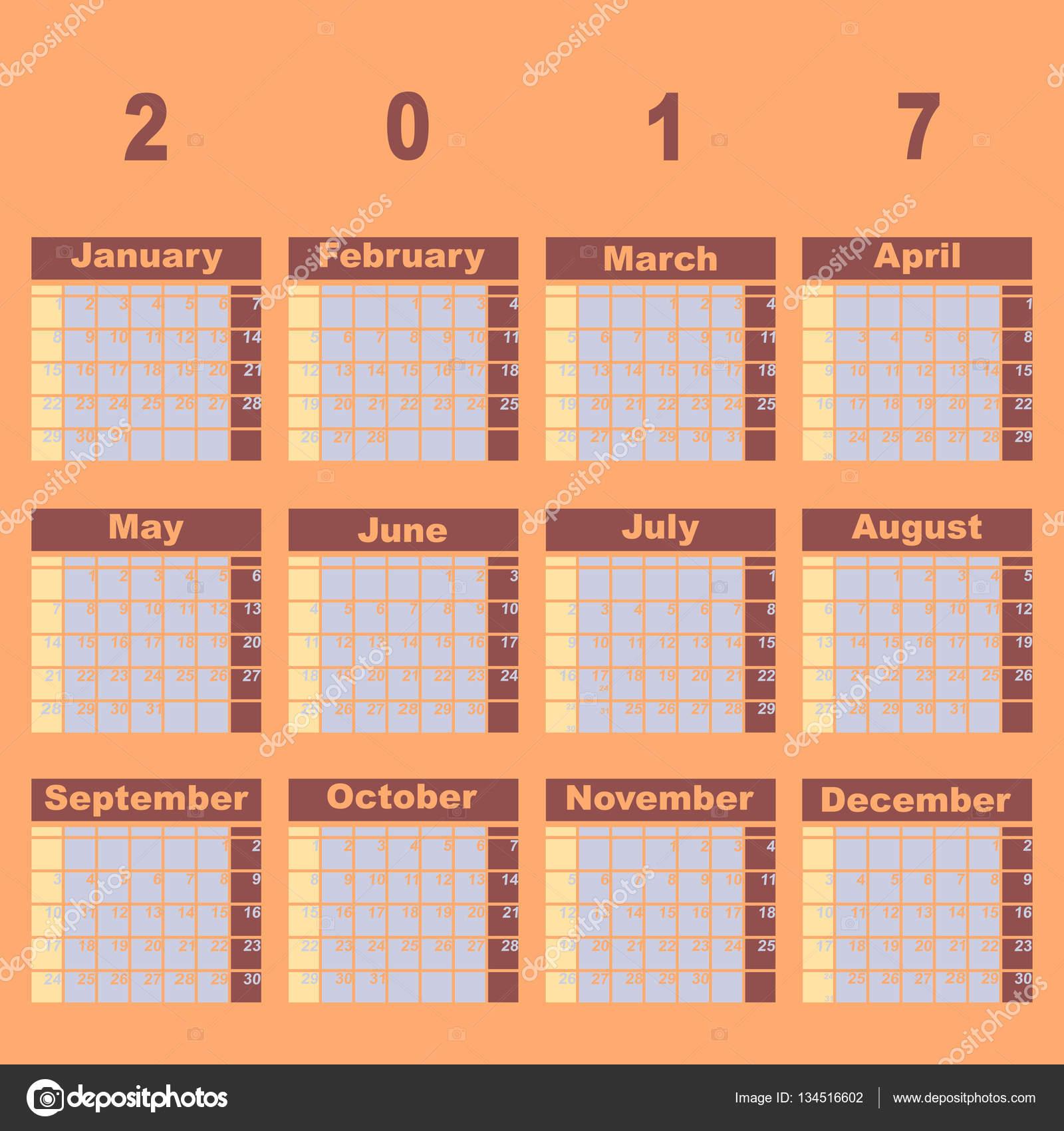 Plantilla de calendario de demo 2017 color natural — Archivo ...