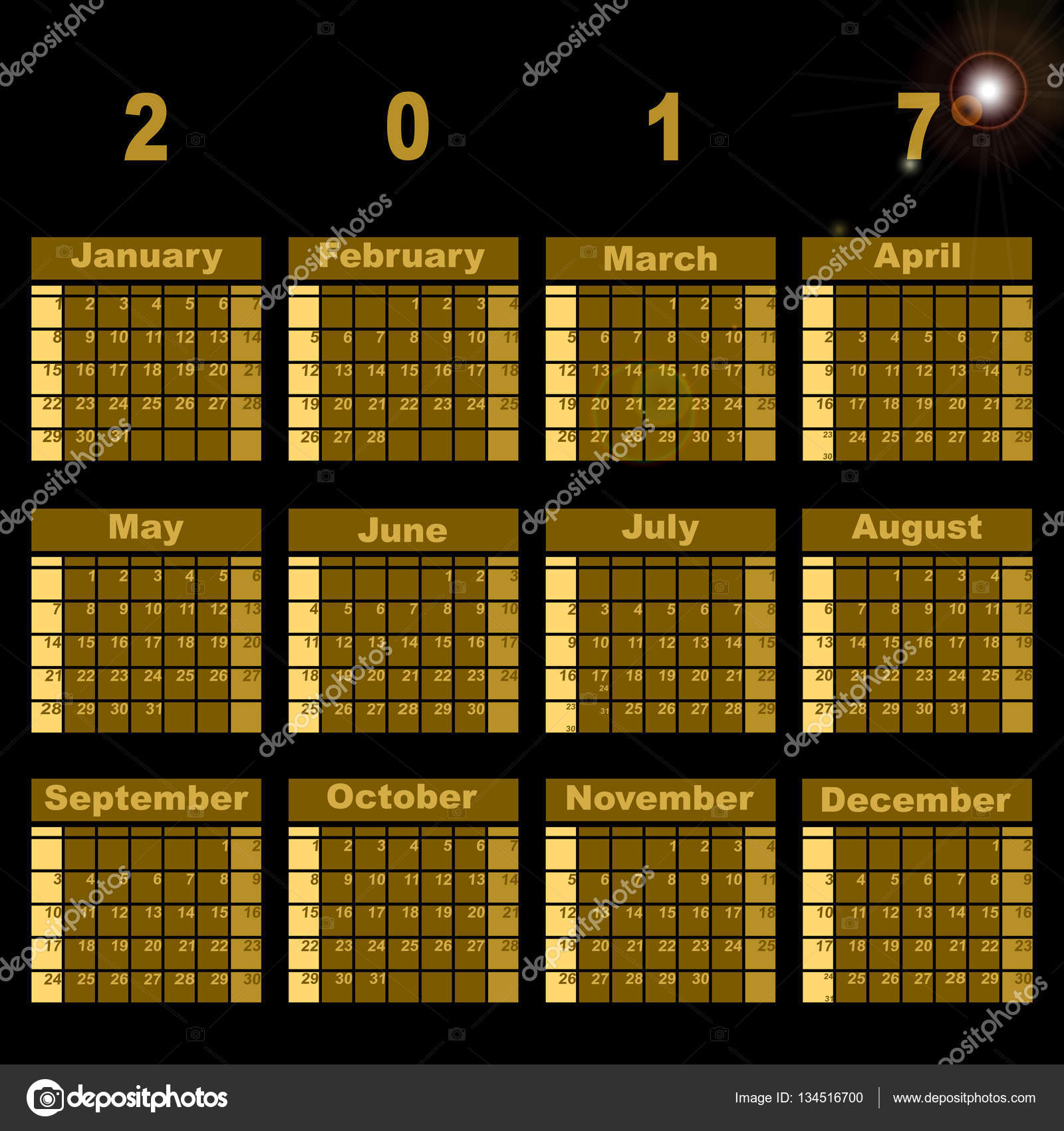 Plantilla de calendario magnífico demo 2017 — Archivo Imágenes ...