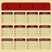 Šablona kalendáře barevné memo 2017