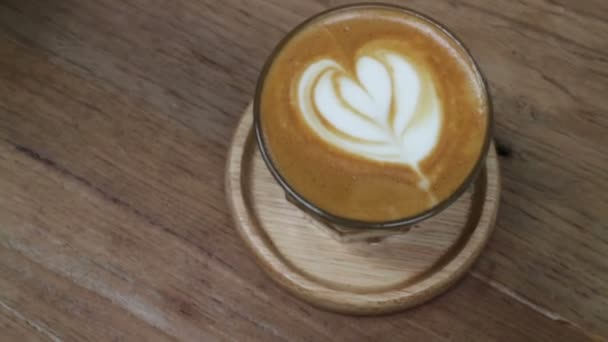 A Cup of Piccolo latte coffee with latte art, stock footage