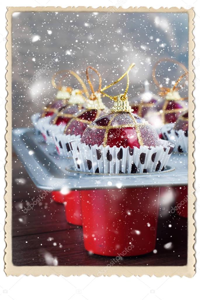 Bolas Navidad juguete de la preparación de la hoja de la hornada ...