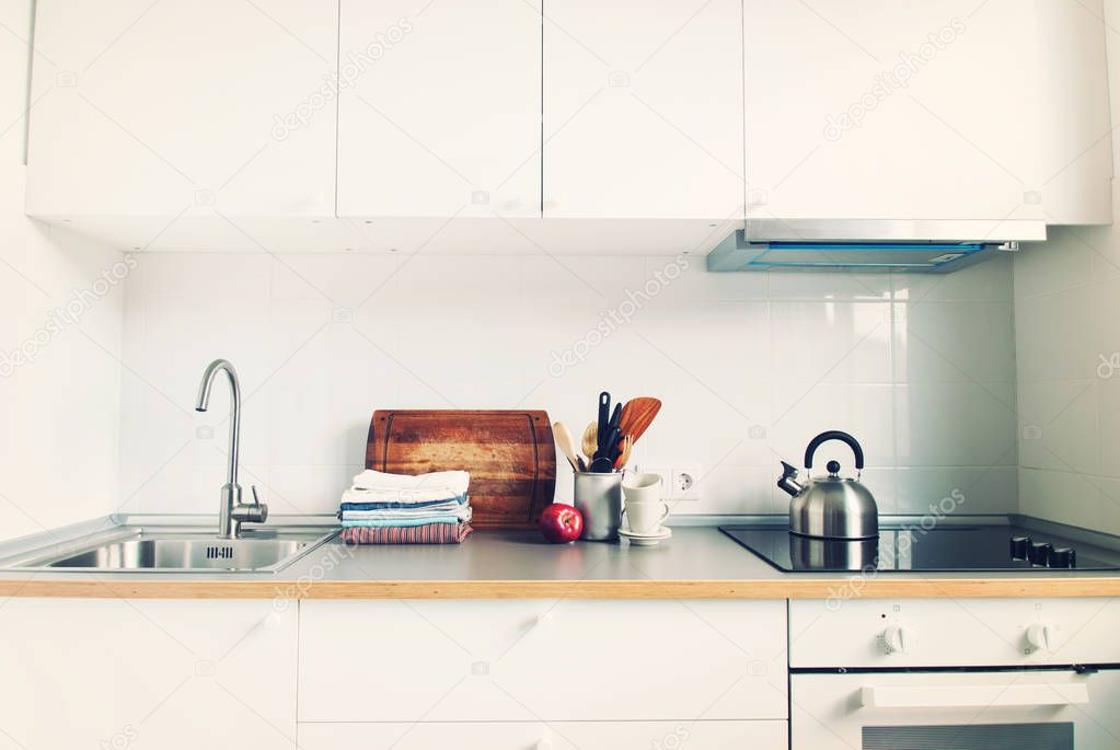 White Kitchen Interior Accessories Apple Products Stock Photo