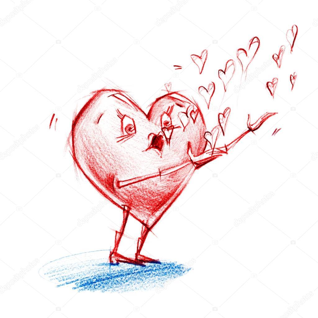 Znakem Srdce Fouka Mydlove Bubliny Kresba Tuzkou Stock Fotografie