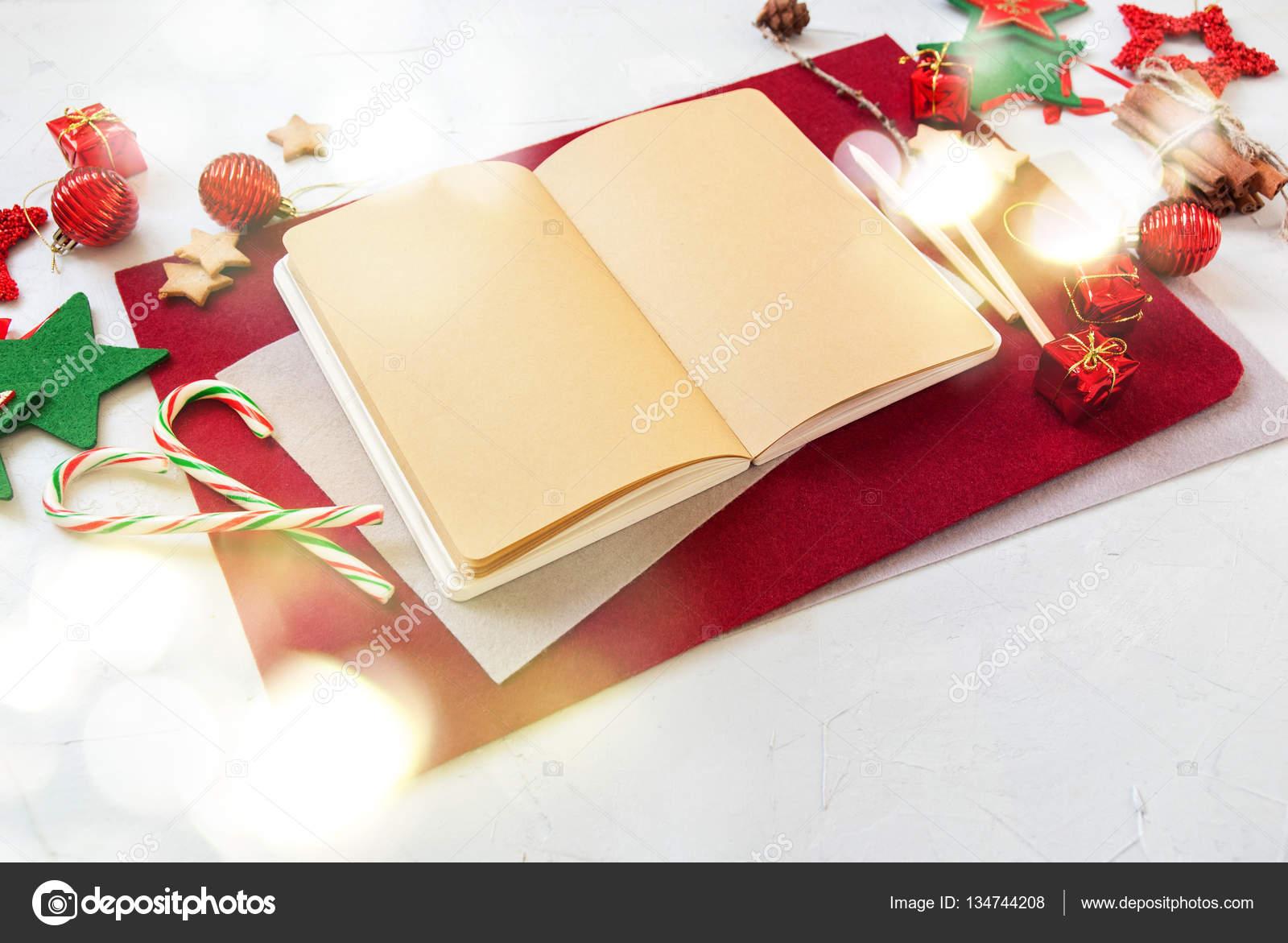 Merry Christmas Card Zuckerstange Notebook Nachricht — Stockfoto ...