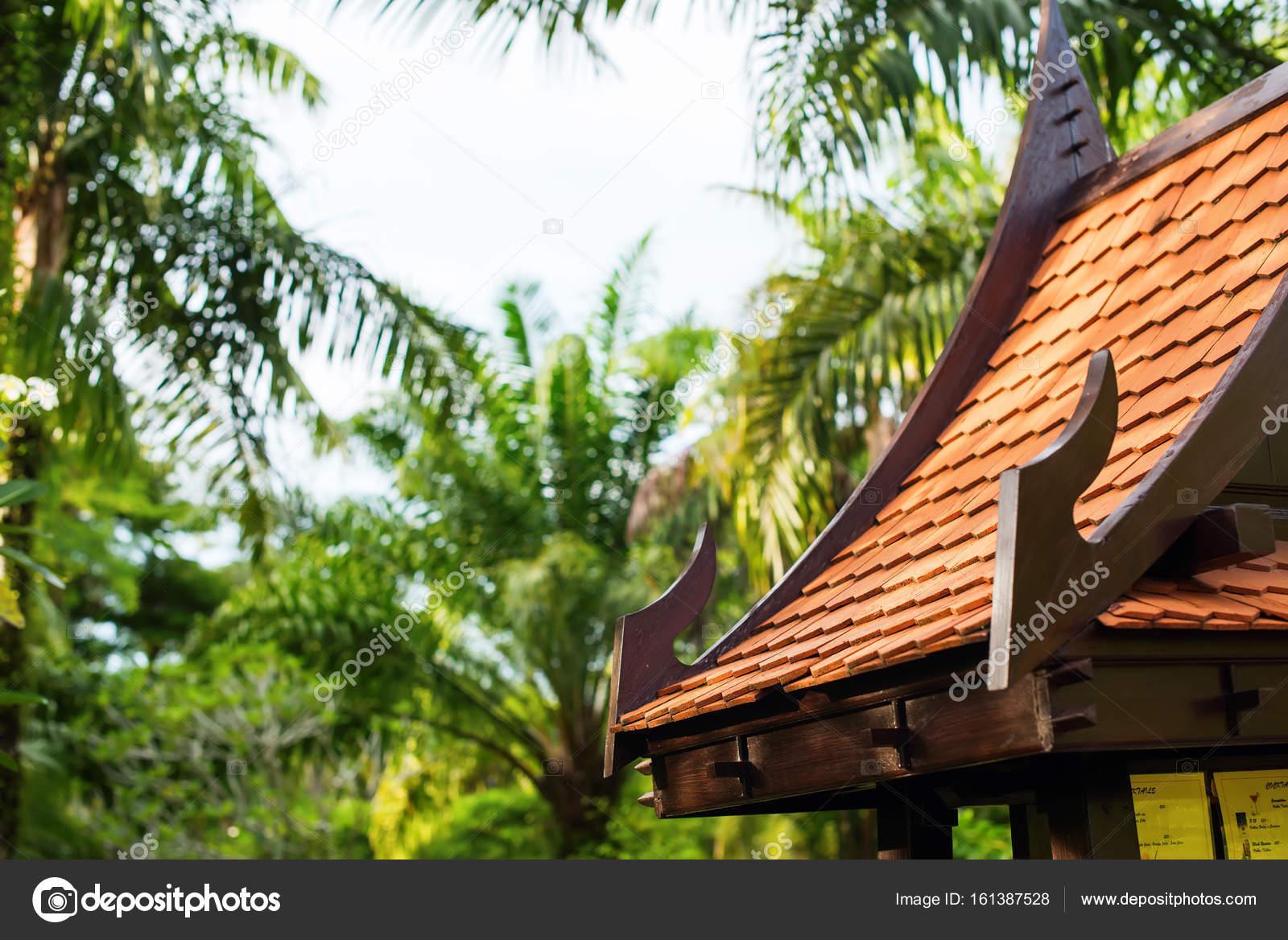 Asiatische Laube Garten Buddhismus Gebäude Hintergrund Stockfoto