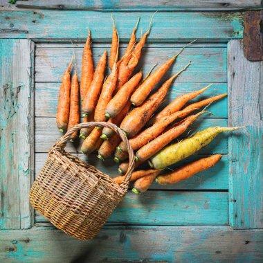Organic Carrots Lies Wooden Blue Background Rustic