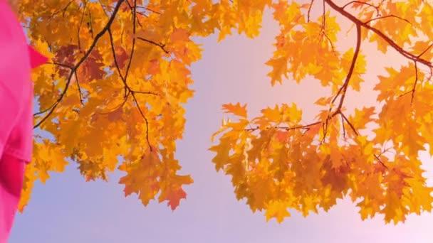 Portrét ženy s podzimními listy, užívající si podzimního času