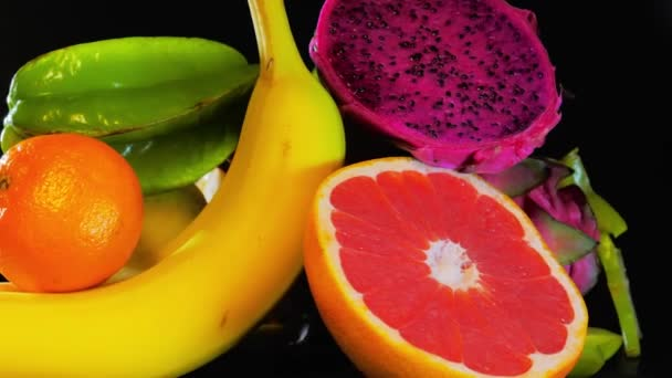 Exotic Fruit background, fresh fruits mixed together