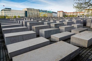 View of the Memorial to the Murdered Jews of Europe on April 15, 2017 in Berlin, Germany. Also known as the Holocaust Memorial, it is a central place of remembrance near the Brandenburg Gate.