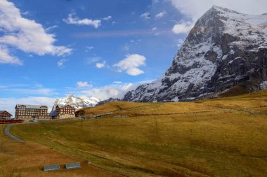 View of country village in nature and environment at swiss