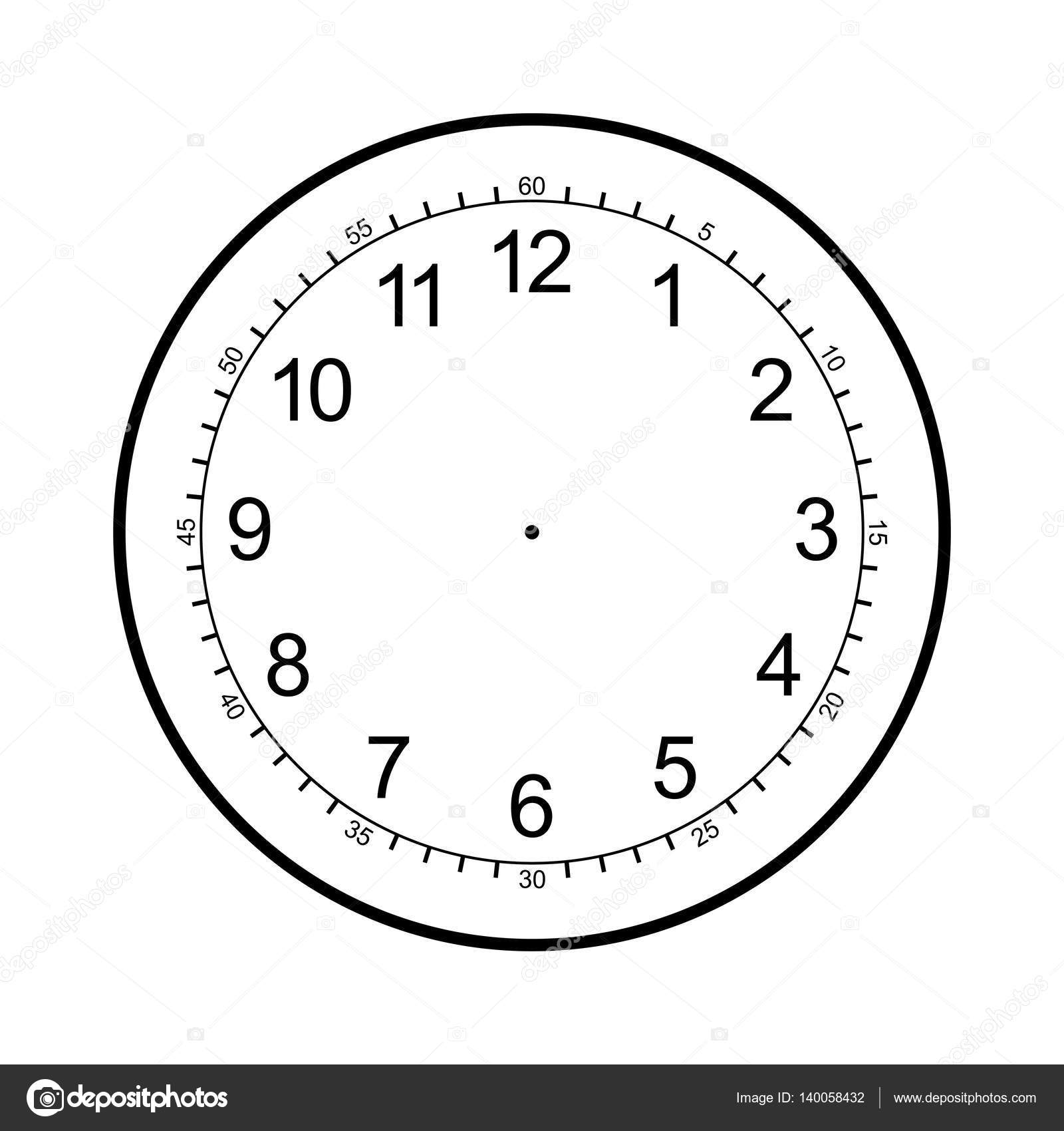 Clock Face Blank Isolated On White Background Stock Vector