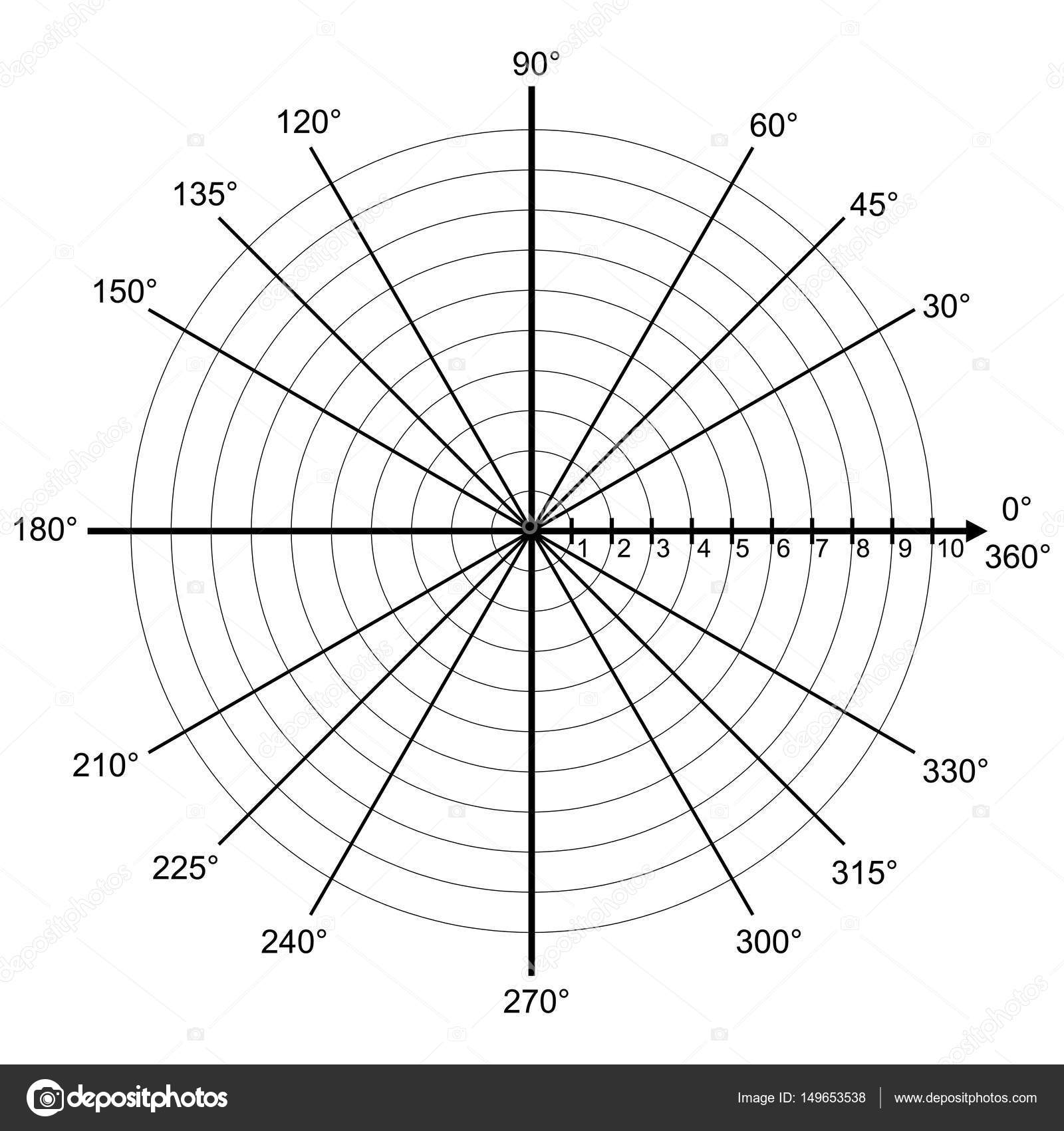 blank polar graph paper - protractor - pie chart vector — stock