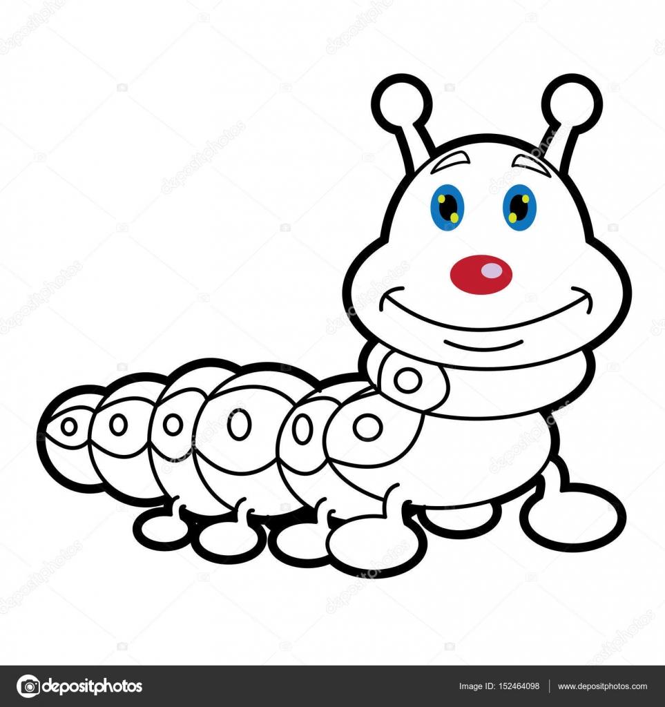 dibujos animados de gusanos de larva para colorear página de