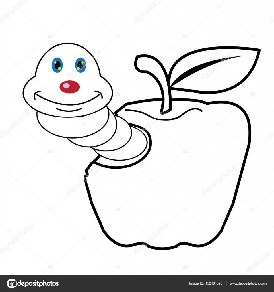 la larva gusano y manzana dibujos animados para colorear página de ...
