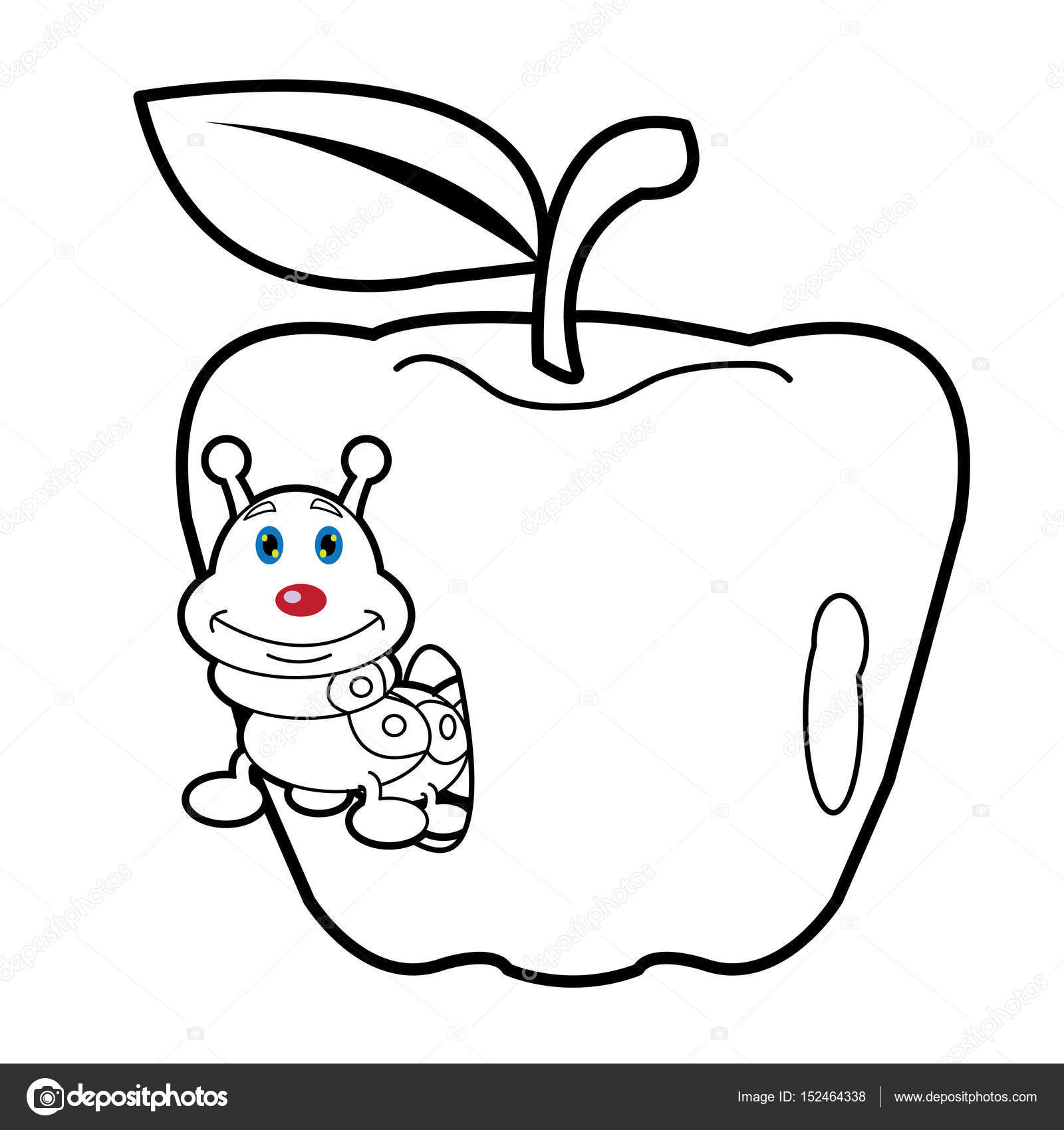 Larva Worm And Apple Cartoon Coloring Page For Toddle Stock Vector