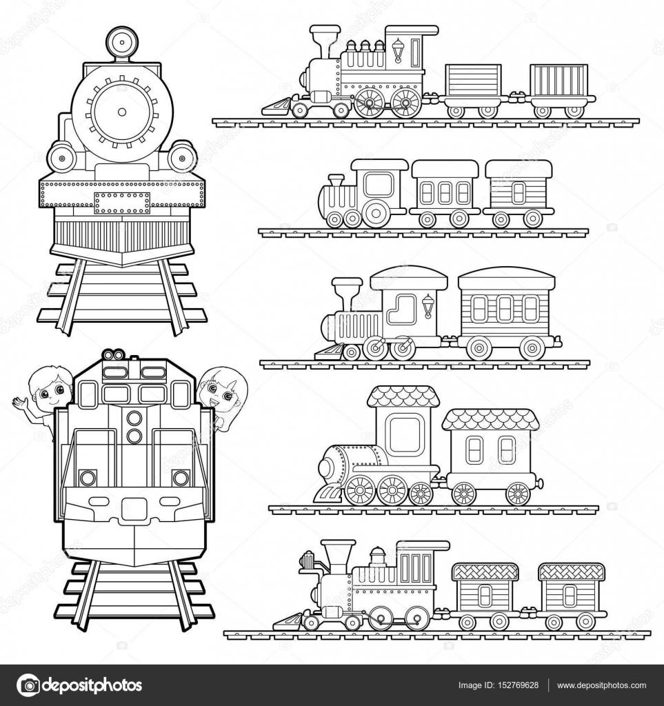 conjunto de dibujos animados de trenes, tren viaje con niños y amigo ...