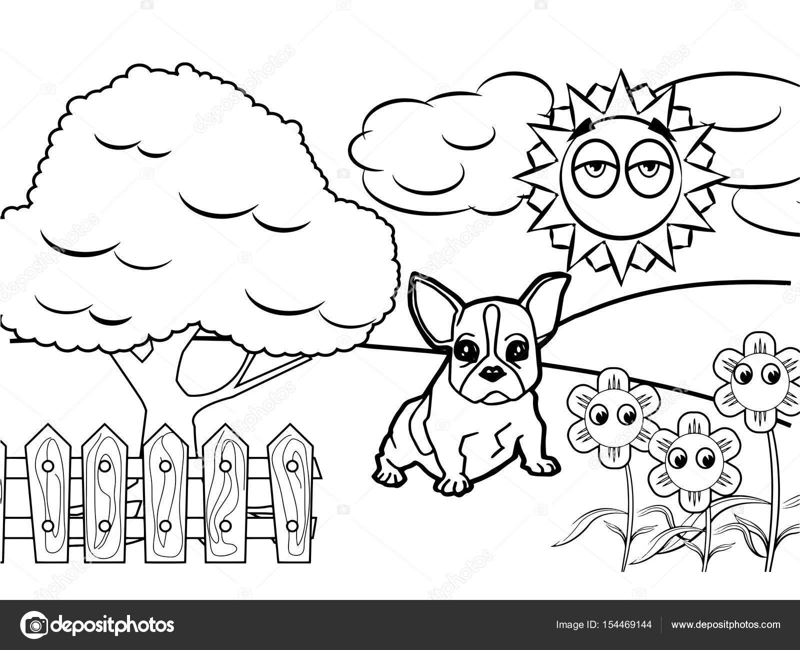 Cachorro Desenho Animado Vetor De Livro Para Colorir