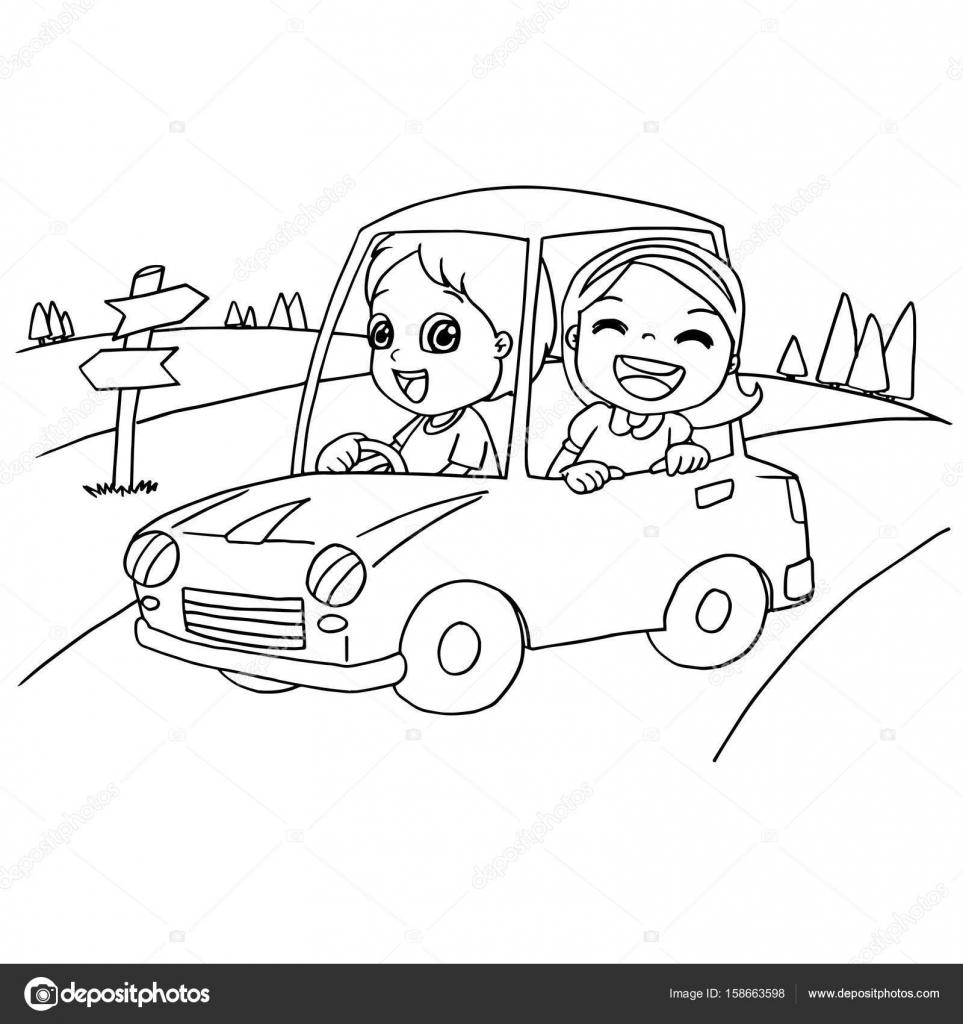 Küçük çocuk Ve Sayfa Vektör Boyama Bir Oyuncak Araba Arkadaş Stok