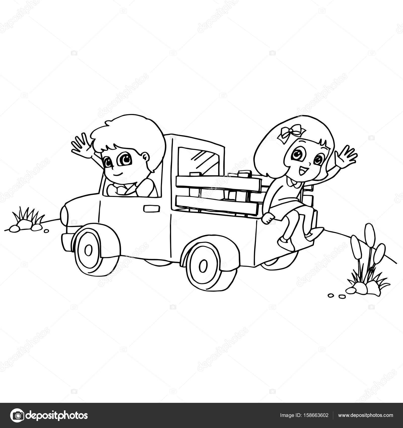 Little boy y amigo conduciendo un coche de juguete para colorear ...
